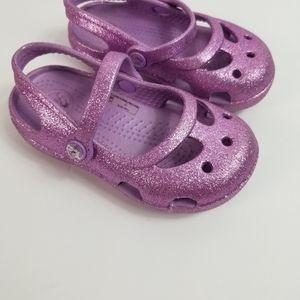 Crocs purple shimmer clogs